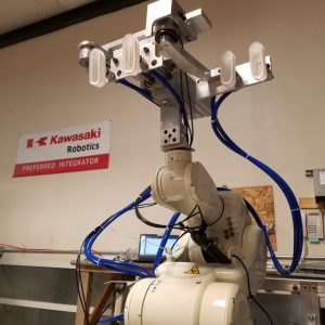 Pick'N'Place robot fitted up with EOAT for bag gripping